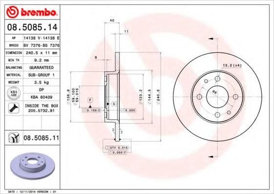 BREMBO 08.5085.11 Тормозной диск